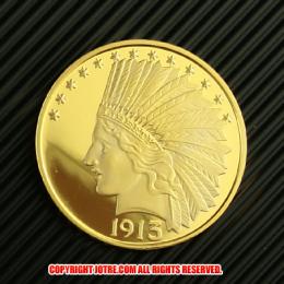 インディアンヘッド・イーグル・ゴールド10ドルコイン1913年プルーフ(レプリカコイン)