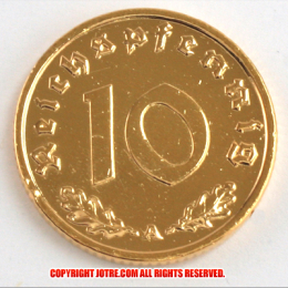 本物☆ナチスドイツ銀貨reichsreich10ライヒスペニヒコイン(金貨風)金メッキ加工済み 通貨