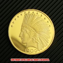 インディアンヘッド・イーグル・ゴールド10ドルコイン1909年プルーフ(レプリカコイン)