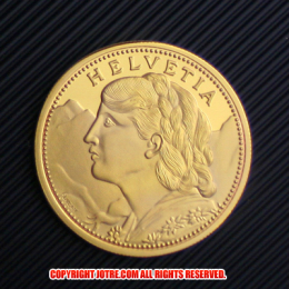再入荷★スイスブレネリ100フラン金貨レプリカ1925年(レプリカコイン)