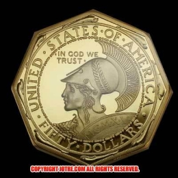 八角形サンフランシスコ万国博覧会記念50ドル金貨(レプリカコイン)
