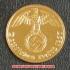 本物☆ナチスドイツ銀貨reichsreich1ライヒスペニヒコイン(金貨風)金メッキ加工済み 通貨の画像2