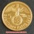 本物☆ナチスドイツ銀貨reichsmark5ライヒスマルクコイン(金貨風)金メッキ加工済み2 通貨の画像1