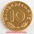 本物☆ナチスドイツ銀貨reichsreich10ライヒスペニヒコイン(金貨風)金メッキ加工済み 通貨の画像1