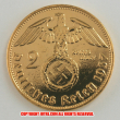 本物☆ナチスドイツ銀貨reichsmark2ライヒスマルクコイン(金貨風)金メッキ加工済み 通貨