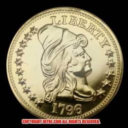 キャップド・バスト(右向き)スモールイーグル金貨1796年(レプリカコイン)